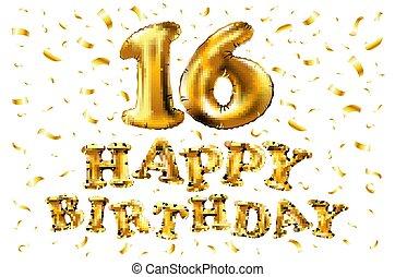 grattis 16 år Guld, år, inbjudan, din, baner, kort, årsdag, fira, 9, sväller  grattis 16 år