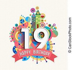 grattis 19 år 48, bil, hälsning, födelsedag, år, lycklig. Lycklig, eps10  grattis 19 år