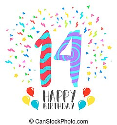grattis 14 år 14, fjorton, födelsedag, år, tårta, parti, kort, lycklig. Fjorton  grattis 14 år