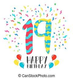 grattis 19 år 13, inbjudan, födelsedag, år, parti, kort, lycklig. Parti, stil  grattis 19 år