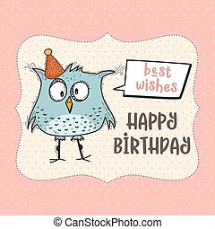 grattis på födelsedagen roliga kort Rolig, klotter, födelsedag, fågel, kort, lycklig. Rolig, fågel  grattis på födelsedagen roliga kort
