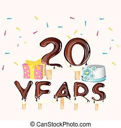 grattis på din 20 årsdag 50, femtio, födelsedag, år, kort, lycklig. Vektor, card., 50  grattis på din 20 årsdag