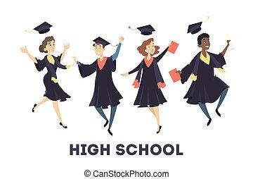 gratuated, diákok, jumping.