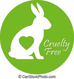 gratuite, cruauté, vecteur, logo
