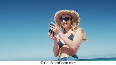 gratuite, femme, temps, apprécier, plage