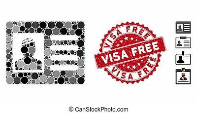 gratuite, icône, cachet, carte visa, mosaïque, patient, grunge
