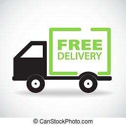 gratuite, livraison, vecteur, conception, illustration, voiture, stockage