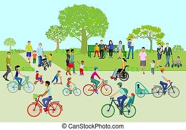 gratuite, parc, temps, families.eps