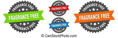gratuite, parfum, étiquette, set., ruban, signe., rond, ...