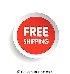 gratuite, vecteur, expédition, rouges, étiquette