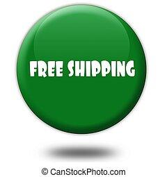 gratuite, vert, button., expédition, 3d