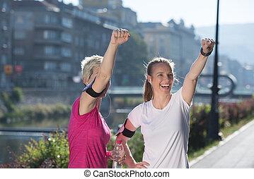 gratulál, tréning, befejez, boldog, reggel