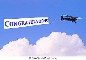 gratulálok, transzparens, repülőgép