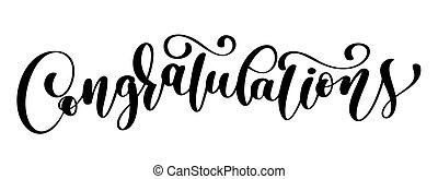 gratulacje, kaligrafia, tytuł, tekst, karta, with., szablon, dla, powitania, gratulacje, housewarming, afisze, zaproszenia, fotografia, overlays., wektor, ilustracja