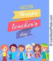 gratulacje, kartka pocztowa, nauczyciel, s, dzień, szczęśliwy