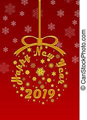 gratulacje, na, przedimek określony przed rzeczownikami, nowy rok, 2019, czerwone tło, z, płatki śniegu, ilustracja