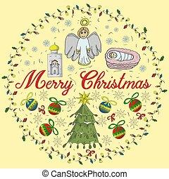 gratulacje, piłki, odizolowany, napis, tło, niemowlę, boże narodzenie, prawowierny, girlandy, koło, anioł, dziatw, płatek śniegu, chorągiew, styl, drzewo, doodle, barwiony