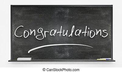 gratulacje, pisemny, na, tablica
