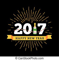 gratulacje, szampan, bandery, butelka, rok, nowy, 2017, szczęśliwy