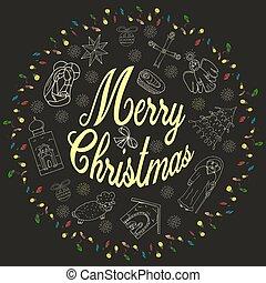 gratulacje, urasheno, piłki, napis, niemowlę, boże narodzenie, prawowierny, girlandy, koło, dzieci, anioł, płatek śniegu, chorągiew, styl, drzewo, szkic, doodle, świątynia