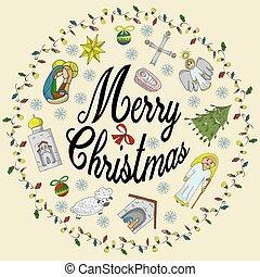 gratulacje, urasheno, piłki, napis, niemowlę, boże narodzenie, prawowierny, girlandy, koło, kolor, dzieci, anioł, płatek śniegu, chorągiew, styl, drzewo, doodle, świątynia