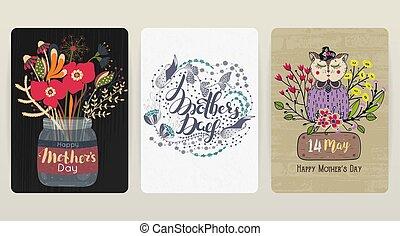 gratulacyjny, komplet, barwny, matczyny, wiosna, day., 3, backgrounds., święto, szczęśliwy