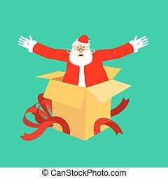 gratulationer, box., gåva, claus, illustration, vektor, surprise., jultomten, år, färsk, öppna, jul