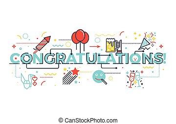 gratulationer, glose, by, fest, begreb