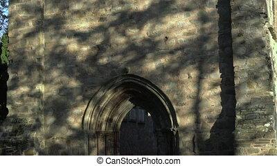 grau, abtei, fassade, von, mittelalterlich, kloster, ruinen,...