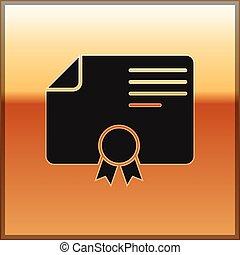 grau, certificado, ouro, distinção, concessão, isolado, ilustração, diploma, negócio, experiência., vetorial, pretas, modelo, sucesso, icon., realização, concepts., ícone, certificado.