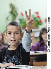 grau, feliz, menino jovem, classes, matemática, primeiro