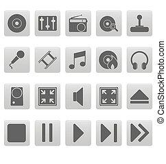 grau, medien, heiligenbilder, auf, graue , quadrate