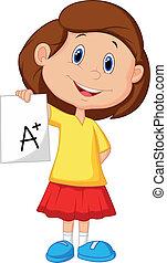 grau, menina, mostrando, positivo, caricatura