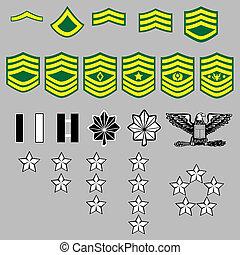 grau, nós, insignia, exército