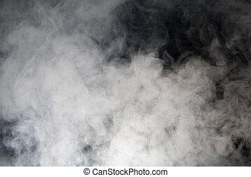 grau, rauchwolken, mit, schwarzer hintergrund