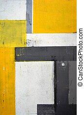 grau, und, gelber , abstrakte kunst