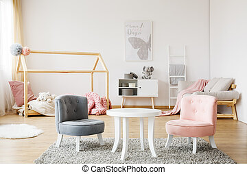 grau, und, rosa, stühle