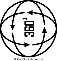 grau, vetorial, 360, ícone