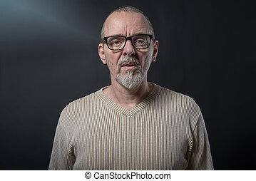 graue , altes , brille, porträt, männerbart