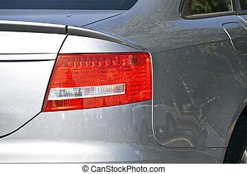 graue , auto, modern, metallisch, lichter, bremse
