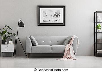 graue , boden, inneneinrichtung, photo., elegant, zimmer, decke, bohnenkaffee, ort, tisch., schwarz, lebensunterhalt, kissen, industrie, rosa, sofa, lampe, echte
