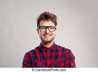 graue , brille, geprüften hemd, gegen, hintergrund., mann