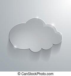 graue , eco, abbildung, glas, vektor, glänzend, wolke, ikone