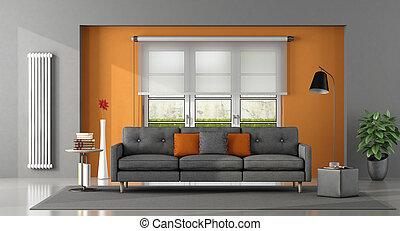Orange, graue , zimmer, lebensunterhalt. Graue , tür, zimmer ...