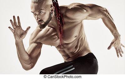 graue , rennender , mann, freigestellt, fitness