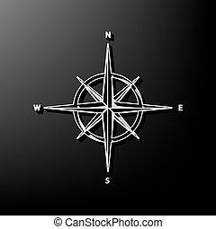 graue , rose, zeichen., hintergrund., schwarz, gedruckt, vector., 3d, wind, ikone