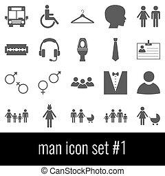 graue , satz, heiligenbilder, hintergrund., weißes, 1., man., ikone