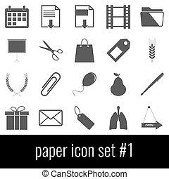 graue , satz, heiligenbilder, paper., hintergrund., weißes, 1., ikone