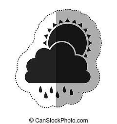 graue , silhouette, sonne, aufkleber, regnen wolke