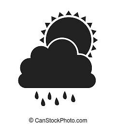 graue , silhouette, wolke, regen, sonne